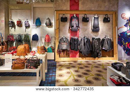 BERLIN, GERMANY - CIRCA SEPTEMBER, 2019: interior shot of a Desigual store in Mall of Berlin.