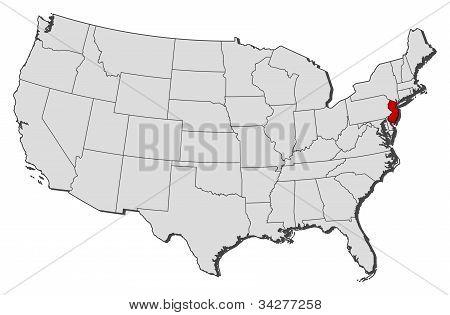 Karta över USA, New Jersey belyst