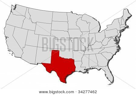 Map Of The United States, Texas Highlighted