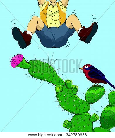 Drawing The Bottom Of A Man Leaping Over A Cactus After Being Pricked By One Of Its Thorns As A Bird