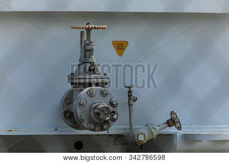 Industrial Valves, Shut Off And Closed, Large Steel Manual Water Control Valve With Small Valves On