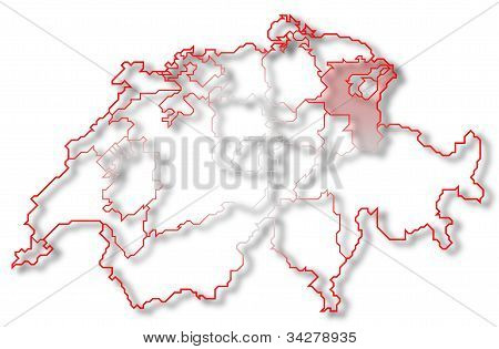 Map Of Swizerland, St. Gallen Highlighted