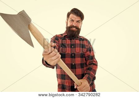 Rage In His Blood. Man With Axe. Bearded Man Hold Axe Isolated On White. Brutal Lumberjack. Cutting