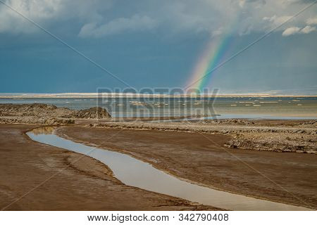 Rainbow After Tropical Storm Above Dead Sea In Israel
