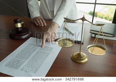 Lawyer Working With Contract Papers On The Table In Office. Consultant Lawyer, Attorney, Court Judge