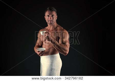 Protein Cocktail. Sexy Athlete Holding Cup With Energy Diet Drink Copy Space. Athletic Man Keeping E