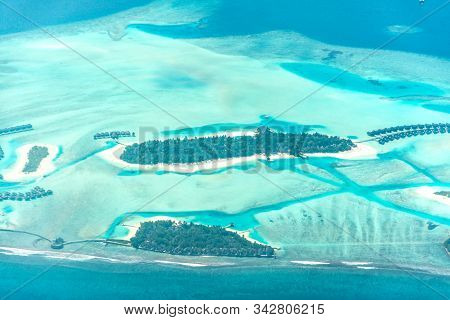 Maldive Atolls Aerial View Of Luxury Resort Coconut Trees And Colorful Ocean Famous Place To Visit I