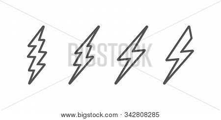 Bolt Of Lightning Vector. Set Of Lightning Illustration. Streak Of Lightning Sign. Electric Bolt Fla