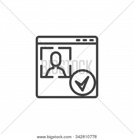 Account Id Verification Line Icon. Facial Recognition Linear Style Sign For Mobile Concept And Web D