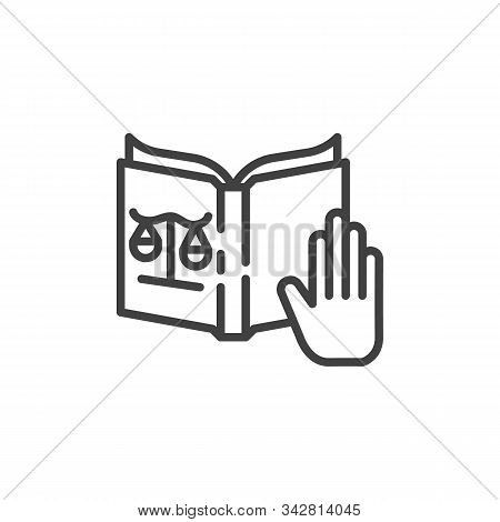 Justice Oath Line Icon. Linear Style Sign For Mobile Concept And Web Design. Hand And Constitution B