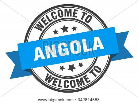 Angola Stamp. Welcome To Angola Blue Sign