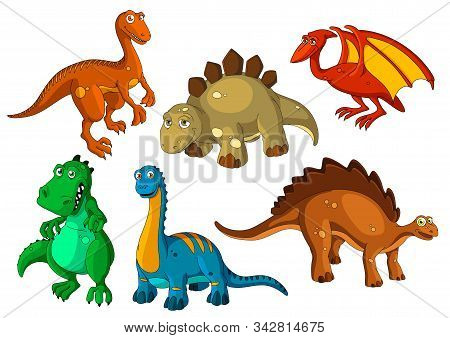Dinosaur Animal Cartoon Icon Set. Funny Dino Prehistoric Reptiles And Predators. Jurassic Monster, B