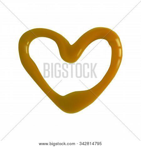 A Heart Shape Of Mustard. Vector Illustration. Bright Paste.