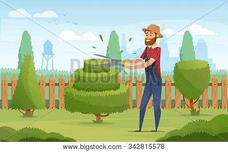 Gardener Working In Garden Cartoon Icon. Landscape Designer In Blue Overalls Pruning Or Trimming Gre