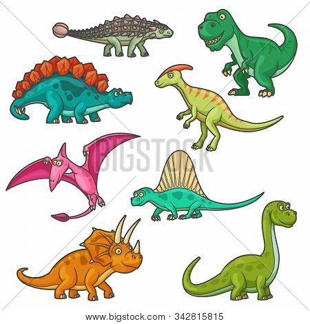 Cartoon Dinosaur Characters, Funny Dinos. Vector Triceratops, Tyrannosaurus, Stegosaurus And Brontos
