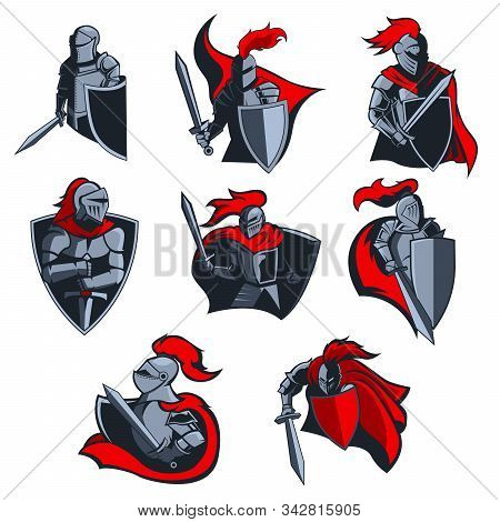 Knight Vector Icons Of Medieval Warriors With Armour Helmets, Swords And Shields, Red Capes And Plum