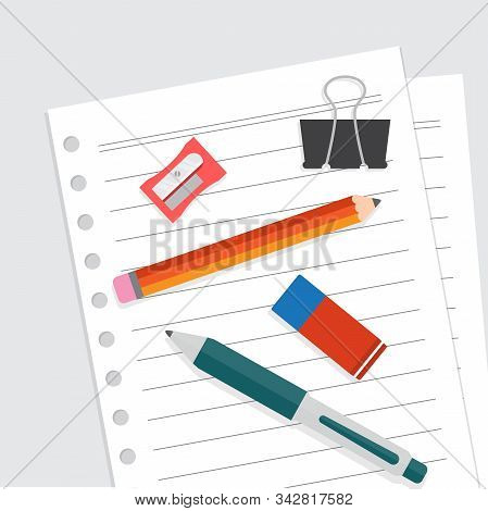 Stationery Illustration Flat, Blank Sheet Of Paper Binding And Ballpoint, Pencil, Sharpener, Paper C