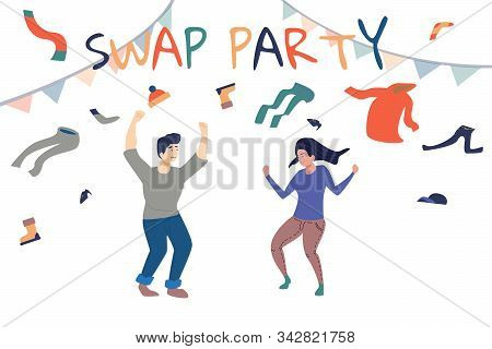 People Swaping Their Old Clothes. Clothes Donation Concept Vector Illustration. Rgb Vector Swap Part