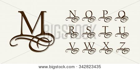 Vintage Set 2. Calligraphic Capital Letters With Curls For Monograms And Logos. Beautiful Filigree F