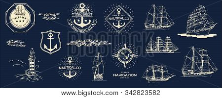 Mega Vector Set. Nautical Useful Design Elements. Inspirational Themplate Of Nautical Style Logo, Em