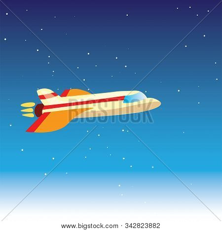 Cartoon Cute Vector Illustration Of Plane In Blue Stratosphere, Atmosphere, Almost In Space. Airplan