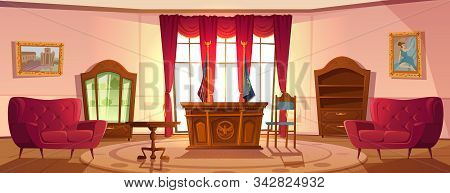 Oval Cabinet With Furniture, Office Interior For President United States Workplace In Official Resid