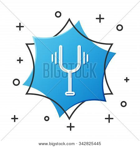 White Line Musical Tuning Fork For Tuning Musical Instruments Icon Isolated On White Background. Blu