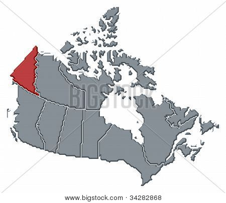 Map Of Canada, Yukon Highlighted