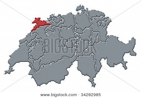 Map Of Swizerland, Jura Highlighted