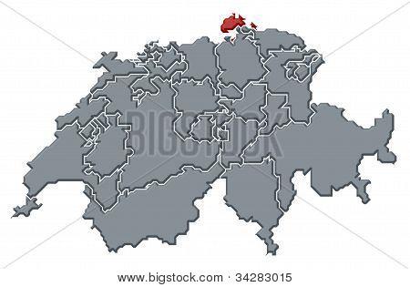 Map Of Swizerland, Schaffhausen Highlighted