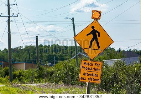 Warning For Pedestrians, Warning Road Sign, Watch For Pedestrians Bilingual Sign French And English,