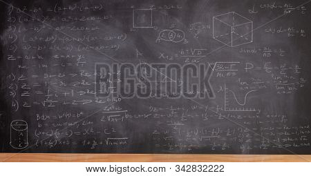 School blackboard written with math formulas and numbers