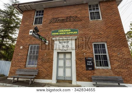 Cobargo, Nsw - December 20, 2019: Facade Of The Former Bank Of Nsw, Today A Home Brew Supplier, In T