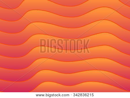 Abstract Red Fiery Lava Background. Wavy Line Gradient Pattern. Vector