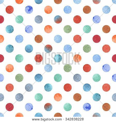 Watercolor Seamless Pattern In Polka Dot Style. Handmade With A Wet Brush On Paper.