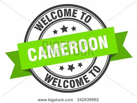 Cameroon Stamp. Welcome To Cameroon Green Sign