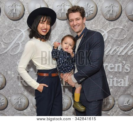 LOS ANGELES - DEC 07:  Matthew Morrison, Renee Puente and Revel James Makai arrives for the Brooks Brothers Holiday Celebration Honoring St. Jude on December 07, 2019 in West Hollywood, CA