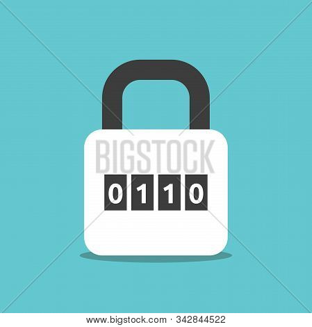 Binary Combination Padlock With Zeroes And Ones On Turquoise Blue. Lock, Cyber Security, Data And Pr