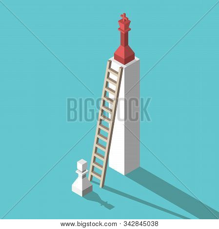 Isometric White Chess Pawn, Ladder And High Pedestal With Red King. Inequailty, Competition, Ambitio