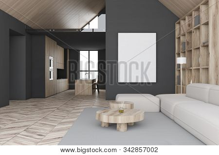 Attic Living Room Interior With Gray Walls, Wooden Floor, Comfortable Sofa Near Bookcase And Crude C