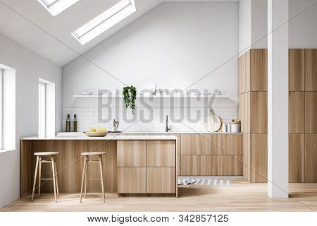 Attic White Kitchen Interior With Bar