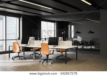 Dark Gray Open Space Office And Meeting Room