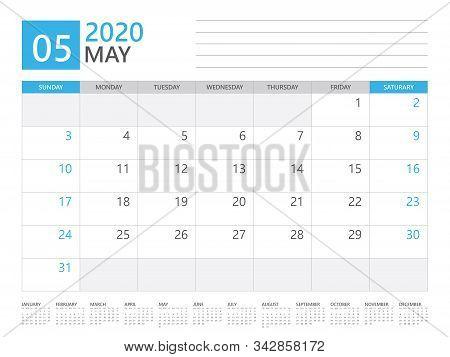 May 2020 Calendar Planner Set For Template Corporate Design Week Start On Sunday. Desk Calendar 2020