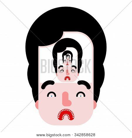 Soul-searching Concept. Man In Man Recursion. Vector Illustration