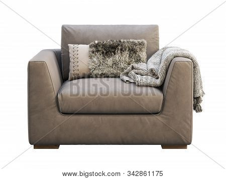 Chalet Brown Leather Upholstery Armchair With Pillow And Plaid. 3D Render.