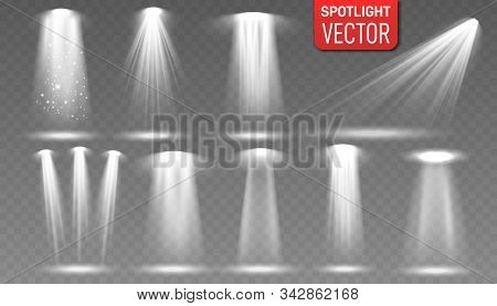 Set Of The White Spotlight Shines On The Stage, Scene, Podium. Scene Illumination Collection. Spotli