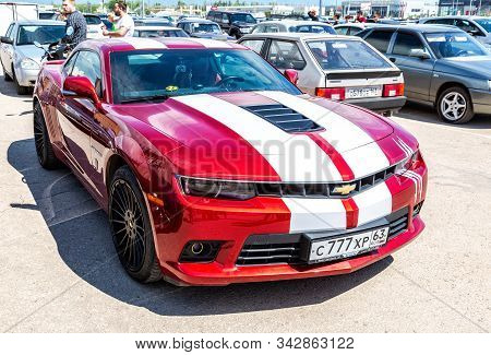 Samara, Russia - May 18, 2019: Vehicle Chevrolet Camaro Parked Up At The City Street