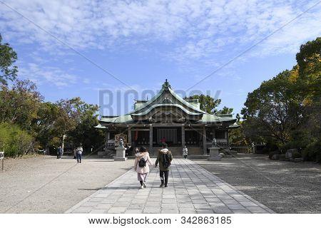 Osaka, Japan- 01 Dec, 2019: People Visit To Hokoku Shrine In Osaka. Hokoku Shrine Is A Shinto Shrine