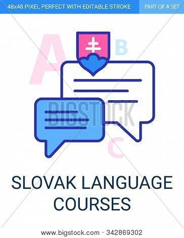Slovak Language Courses Pixel Perfect Icon With Editable Stroke