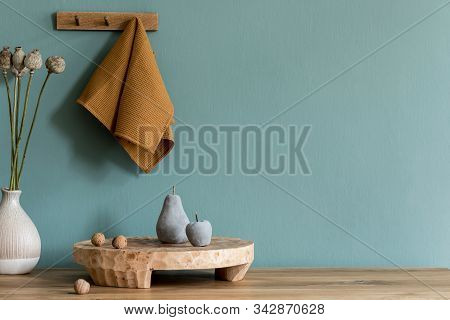 Interior Design Of Dining Room With Wooden Table, Kitchen Accessories, Herbs  And Elegant Accessorie